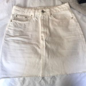 Zara White High Waist Denim Skirt Size S